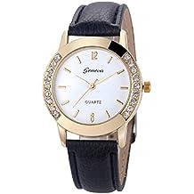 Relojes Pulsera Mujer,Xinan Cuero del Diamante Analógico Relojes de Cuarzo (Negro)