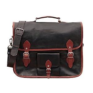 PAUL MARIUS LE GRAND EXPRESS (L) Marrón oscuro Maletín bandolera, mochila de cuero, bandolera de cuero, estilo vintage bicolor marrón oscuro