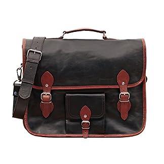 412Yycr1 0L. SS324  - PAUL MARIUS LE GRAND EXPRESS (L) Marrón oscuro Maletín bandolera, mochila de cuero, bandolera de cuero, estilo vintage bicolor marrón oscuro