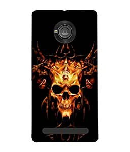 PrintVisa Designer Back Case Cover for YU Yuphoria :: YU Yuphoria YU5010 (Poster Fear Skeleton Mask Drakulla Yellow )