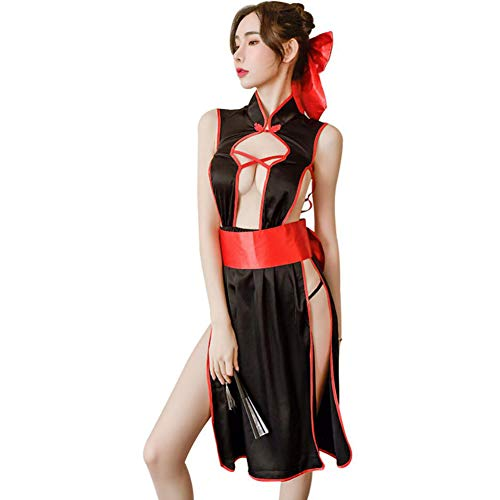 PAOFU-Frauen Sexy Erotic Dessous Japanischen Kimono Cosplay Kleid Versuchung Spitze Offener Rücken Seite Offen Unterwäsche Set,Schwarz,OneSize