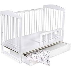 Lit pour Bébé à barreaux évolutif TOMI 15 - Avec MATELAS et drap, Blanc - Version AVEC tiroir.