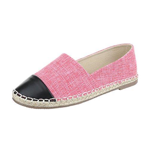 Ital-Design Slipper Damenschuhe Low-Top Blockabsatz Moderne Halbschuhe Pink CC8586