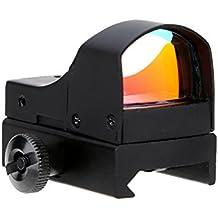 TOMSHOO Miras de Arma de Caza, Táctico Punto Rojo Carril 20mm Brillo Ajustable Óptica Reflex Lens Airsoft Riflescope Telescópica