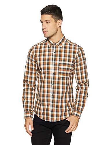Diverse Men's Checkered Regular Fit Casual Shirt (DVC04C2L03-196!_Khaki/Grey!_Medium)