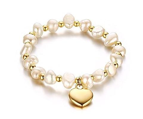 Vnox Cœur en acier inoxydable Bracelet de perles d'eau douce, 16,5cm