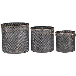 A&B Home KIH42376 Copper Band Seneca Metal Planters (Set of 3)