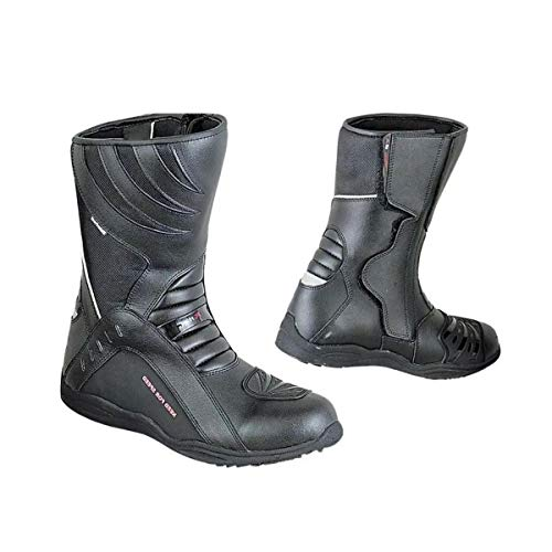BIESSE - Stivali da Moto in pelle, Urban, Touring, Scooter, misure dal 40 al 45, impermeabili, colore Nero, Rpro boots, 3M Alta Visibilità (nero, 44)