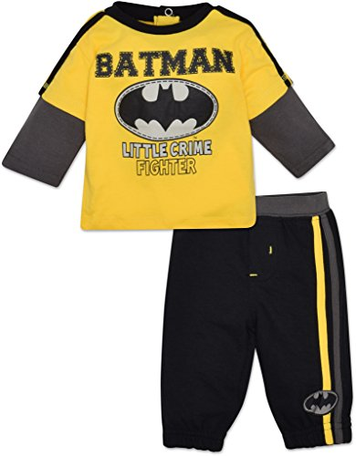"Bebé Niños De Batman de manga larga y pantalones Set – Amarillo, ""Little crimen Fighter"" - Amarillo -"