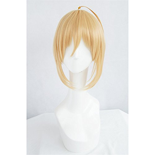 LanTing Cosplay Perücke Fate Stay Night Zero Saber Blonde Gold Cosplay Party Fashion Anime Human Costume Full wigs Synthetic Haar Heat Resistant (Kostüm Gold Element)