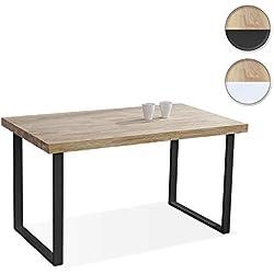 Adec - Natural, Mesa de Comedor, Mesa Salon Fija Color Roble Salvaje y Negro, Medidas: 140 x 80 x 76,5 cm de Alto