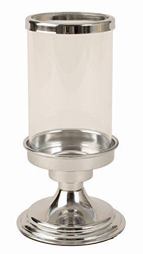 Moderno farol portavelas hecho de acero inoxidable y cristal en plata altura 19cm