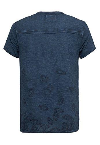 Urban Surface Herren T-Shirt im Vintage Look | Leichtes Print Shirt melieriert mit Knopfleiste middle-blue