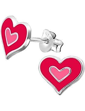 Laimons Kids Kinder-Ohrstecker Kinderschmuck Herz flach Pink, Rosa Sterling Silber 925