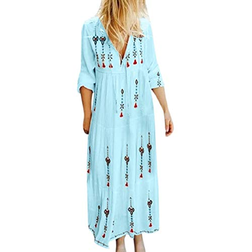 Bluelucon Damen Langärmliges Maxikleid Strandkleid Sommerkleider mit V-Ausschnitt Baggy Kaftan Long Dress Strandkleid Boho-Kleid Bedrucktes Kleid -