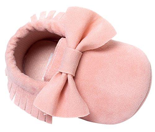 Happy Cherry Chaussures Bébé Fille Garçon Nubuck Princesse en Cuir Artificiel Slip-on Nœud Papillons Semelle Douce Souple Moccasins Frange Chaussures Premiers pas Printemps Automne 0-18mois