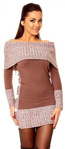Zeta Ville - Vestito maglia Lungo maglione Bottoni pullover aderente Donna 913z Cappuccino