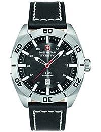 Swiss Military Reloj de hombre de cuarzo con Negro esfera analógica pantalla y correa de cuero negro 6–4282.04.007