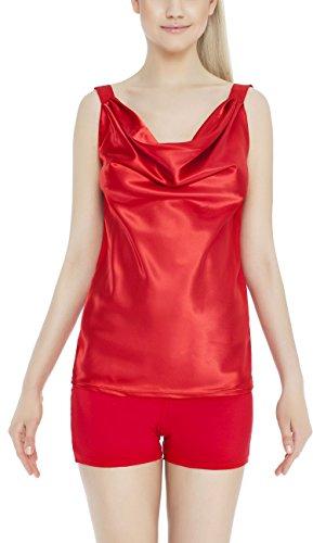 m.Lyra Damen Nachtwäsche Wäsche Set aus Viskose KIMBERLY (XS – 2XL) Rot