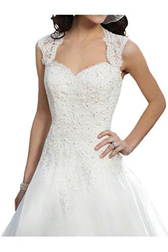 Milano Bride Vintage Damen Aermellos Herzform Hochzeitskleider Brautkleider Brautmode Damen mit Spitze Schleppe-40-Elfenbein - 3