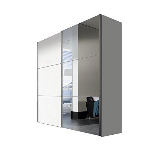 Express Möbel Kleiderschrank Schlafzimmerschrank Weiß Hochglanz 200 cm mit Spiegel, 2-türig, BxHxT 200x216x68 cm, Art Nr. 01710-184