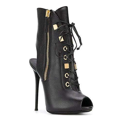 Gasgff Europa Und Amerika Ladies Black Dew Mit Fischmund Super High Heel wasserdichte Plattform Stiefeletten Größe Außenhandel Schuhe,Black,45 (Lady Von Amerika)