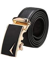 """sourcingmap Men Automatic Buckle Ratchet Dress Leather Belt Width 1 3/8"""""""