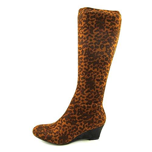 Nine West Genieon Damen Rund Stoff Mode-Knie hoch Stiefel Leopard