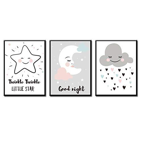 erzimmer Poster Babyzimmer Din Mädchen Deko Kinderzimmer Dekoration Mond Sterne Wolke 21x30cm ()