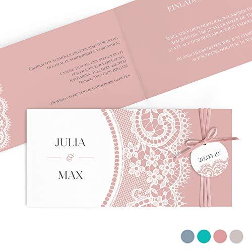 Einladungskarten zur Hochzeit im elegantem Spitze Look mit edlem Anhänger | Inkl. Druck Ihrer Texte | Farbe Misty Rosa | 40 Stück | Individuelle Hochzeitseinladungen |