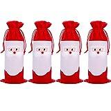 Boao 4 Stück Weihnachten Rot Wein Flaschen Abdeckungen Weihnachtsmann Flasche Tasche mit Kordelzug für Weihnachtsfeier Lieferungen