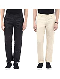 Urbano Fashion Black & Beige Slim Fit Casual Trousers - Pack Of 2