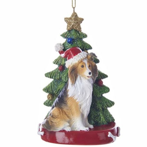 Kurt Adler Shetland Sheepdog Wearing Santa Hat with Christmas Tree Ornament C7615SS New -
