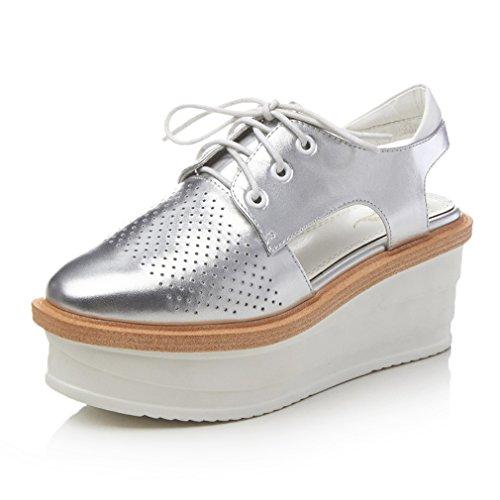 ENMAYER Womens Kuh-Leder überstreifen Schnall Quadratische Zehe Schuhe Für keilabsatz Sommer Beiläufige Art und Weise Sandalen Silber#3
