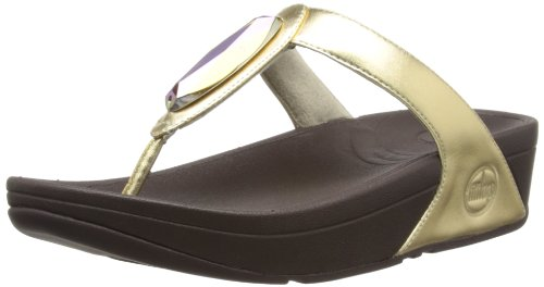 Fitflop  Chada Leather, Sandales pour femme Jaune - Pale Gold