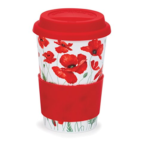 (DUNOON Reise Tasse mit Silikon Deckel und Ärmel–Spülmaschinen sparen–Made in England - Poppies - Red)