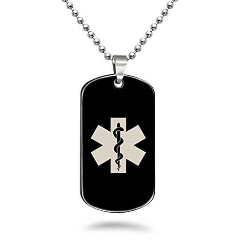 LiFashion LF Edelstahl Medical Alert Tag Name EIS SOS Personalisierte Angepasste Medizinische ID Dog Tag Anhänger Halskette Gesundheit Alarm Überwachung Notfall,Kostenlose Gravur