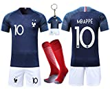 VOOA Maillots de Football Enfants de France Soccer Jersey 2018 Coupe du Monde France 2 Étoiles Football T-Shirt et Short Chaussettes (Bleu 10 Mbappe, Tag22)