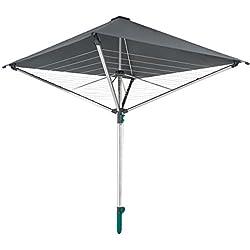Leifheit Séchoir parapluie LinoProtect 400, étendoir parapluie pour extérieur avec toit étanche, séchoir à linge inclus 8 œillets pour cintres & douille de sol