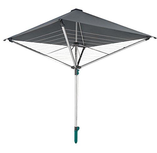 Leifheit Wäscheschirm LinoProtect 400 mit wasserdichtem Dach, Wäschespinne verlängert die Outdoor-Trockensaison, Wäscheständer aus Aluminium inkl. Bodenhülse