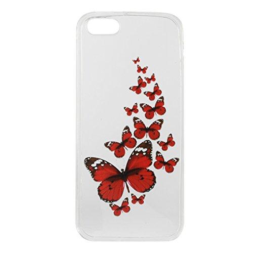iPhone 5S Hülle, iPhone SE Hülle, Gift_Source [ Meow Cat ] Hülle Case Transparent Weiche Silikon Schutzhülle Handyhülle Schutzhülle Durchsichtig TPU Crystal Clear Case Backcover Bumper Case für iPhone E1-Roter Schmetterling