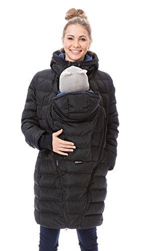 GoFuture Damen Tragejacke für Mama und Baby 4in1 Känguru Jacke Umstandsjacke Daunen Winter GF2265XA5 Schwarz mit blauem Innenfutter