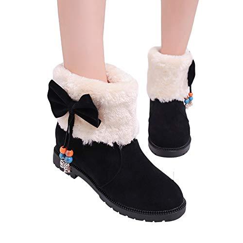 Stiefel Damen, LANSKIRT Schneestiefel Frauen Stiefeletten Boots Gefüttert Warm Winterschuhe Flach Schlupfstiefel Outdoor