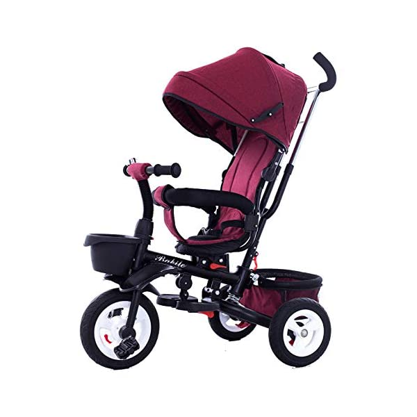 BGHKFF 4 In 1 Childrens Folding Tricycle 1 To 6 Years Rear Wheel With Brake Childrens Tricycles Detachable And Adjustable Push Handle 2-Point Safety Belt Child Trike Maximum Weight 25 Kg,Winered BGHKFF ★Material: High carbon steel frame, suitable for children aged 1-6, maximum weight 25 kg ★ 4 in 1 multi-function: can be converted into a stroller and a tricycle. Remove the hand putter and awning, and the guardrail as a tricycle. ★Safety design: Golden triangle structure, safe and stable; front wheel clutch, will not hit the baby's foot; 2 point seat belt + guardrail; rear wheel double brake 9