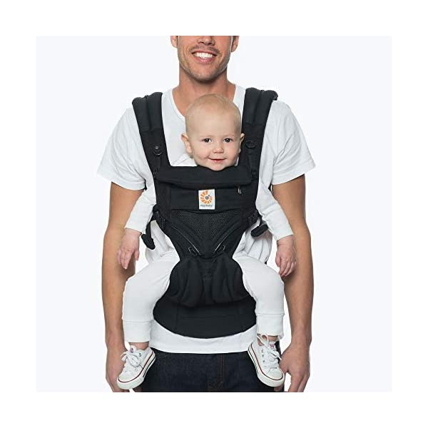 Ergobaby Baby Carrier for Newborn to Toddler, Ergonomic 4-Position Omni 360 Mesh Onyx, Baby Carrier Front Back Front Facing, Backpack Ergobaby Baby carrier with 4 ergonomic wearing positions: parent facing, on the back, on the hip and on the front facing outwards. four ergonomic carry positions and easy to use. Adapts to baby's growth: infant baby carrier new-born to toddler (7-33 lbs./ 3.2 to 20 kg), no infant insert needed Breathable 3d air mesh material ensures the optimal temperature of the baby. includes removable belt pouch. 1