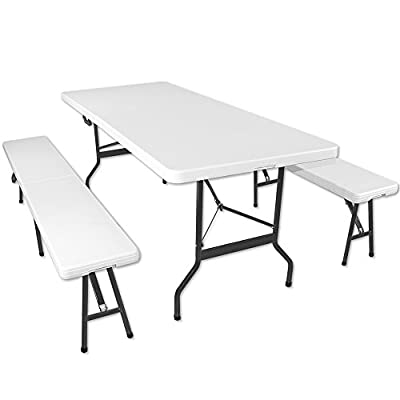 Table and Bench Set Folding Dining Table Set Heavy Duty Outdoor Indoor Furniture - inexpensive UK light store.