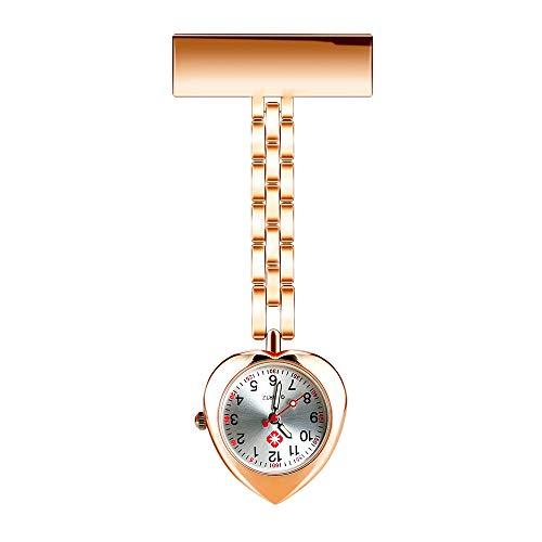 CestMall Krankenschwester Armbanduhr, Uhr Revers Uhren Uhr Rettungssanitäter Arzt Brosche Taschenuhr Quarzwerk Krankenschwestern Uhr Clip-On Hängen