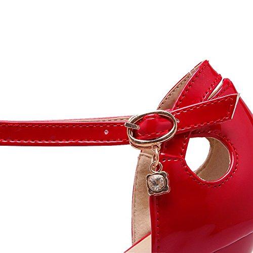 AllhqFashion Damen Blend Spitz Zehe Stiletto Schnalle Rein Pumps Schuhe Rot