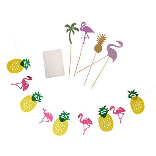 nanas Bunting Hawaiian Flamingo Sommer Party Luau Dekor Girlande mit Flamingo Cake Topper Set (Essen Für Ein Luau)