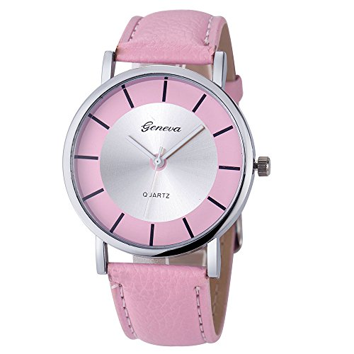 Patifia Unisex Uhr Lederarmband, Armbanduhr für Damen Herren elegant Genf Retro Dial Leder analoge Quarz-Armbanduhr Slim unauffällige Klassisch minimalistische Lederarmbanduhr Quarz Uhren
